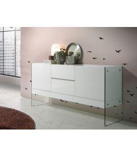Comprar online Mueble Aparador de madera y cristal templado OLIMPO Blanco