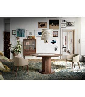 Comprar online Mesa de comedor redonda en madera de nogal Colección CÁDIZ