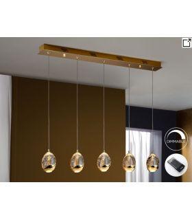 Lámparas LED de 5 luces : Colección ROCIO Oro Lineal con mando