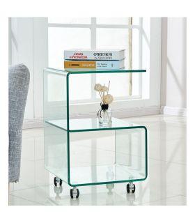 Comprar online Mesa Auxiliar de cristal con ruedas : Modelo ABIGAIL