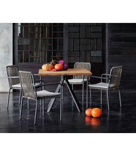 Comprar online Mesa de exterior en aluminio y madera ALASKA cuadrada