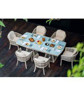 Comprar online Mesa de comedor en ratan tubular Colección VILLA