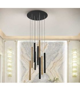 Comprar online Lámpara de Techo LED Colección VARAS 9 Luces Negro/Oro