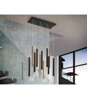 Comprar online Lámpara LED de diseño Colección VARAS 11 Luces Negro/Oro