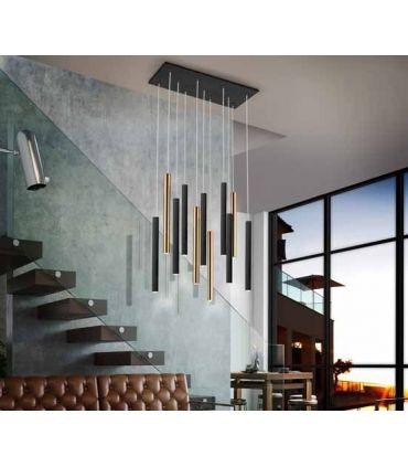 Lámpara LED de diseño Colección VARAS 11 Luces Negro/Oro