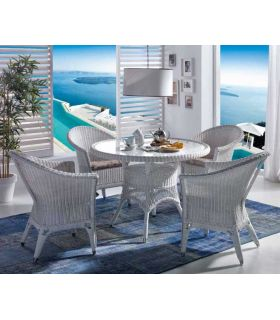 Mesa redonda en Rattan : Coleccion WICKER Blanco