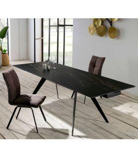 Comprar online Mesa Extensible de Diseño en Metal y Cerámica modelo DUKE Negra