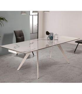 Comprar online Mesa Extensible de Diseño en Metal y Cerámica modelo DUKE Blanca
