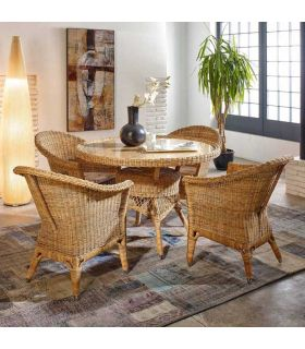 Mesas de Rattan Redondas : Coleccion WICKER Natural