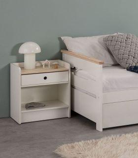 Comprar online Mesita de noche en madera Colección MONTE blanco/cera