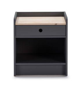 Comprar online Mesita de noche en madera Colección MONTE Antracita