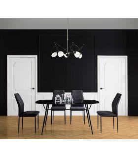Comprar online Mesa de Comedor con cristal efecto mármol ALINA Negro