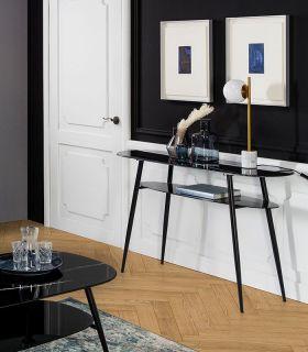 Comprar online Consola de recibidor con cristal efecto mármol ALINA Negro