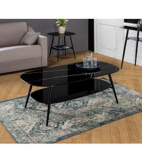 Comprar online Mesa de centro con cristal efecto mármol ALINA Negro