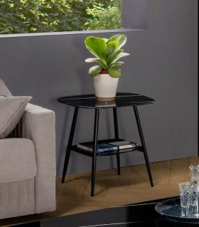 Comprar online Mesa de rincón con cristal efecto mármol ALINA Negro