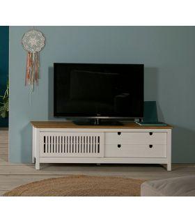 Comprar online Mesa de Televisión en madera natural de pino Colección BRUNA Blanca