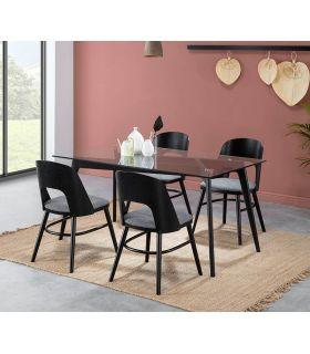Comprar online Set de 2 sillas de madera tapizadas modelo BRUXELLES Negro