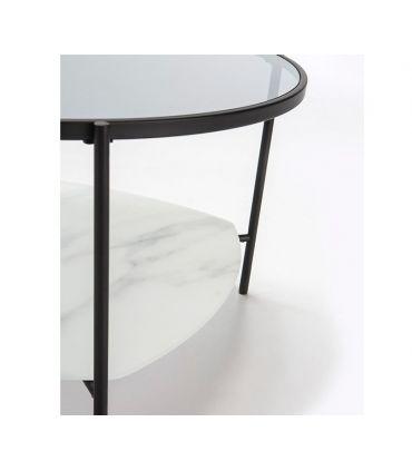 Mesa de centro con bandeja de cristal efecto mármol KELLY blanco