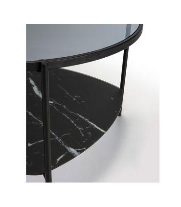Mesa de centro con bandeja de cristal efecto mármol KELLY negro