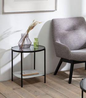 Comprar online Mesa auxiliar con bandeja de cristal efecto mármol KELLY blanco