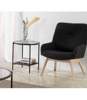 Comprar online Mesa auxiliar con bandeja de cristal efecto mármol KELLY negro