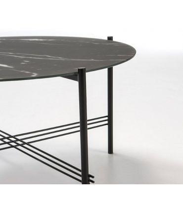 Mesa de centro con tapa de cristal efecto Mármol Negro KENDALL