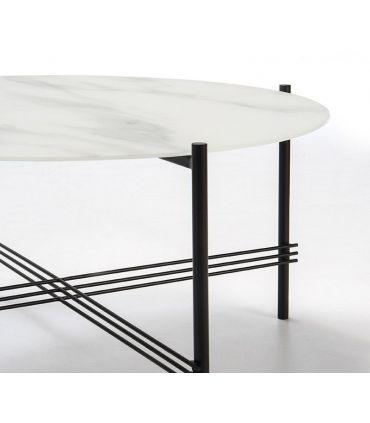 Mesa de centro con tapa de cristal efecto Mármol Blanco KENDALL