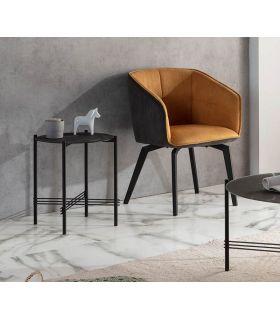 Comprar online Mesa auxiliar con tapa de cristal efecto Mármol Negro KENDALL