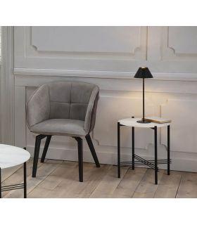 Comprar online Mesa auxiliar con tapa de cristal efecto Mármol Blanco KENDALL