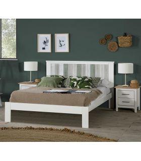 Comprar online Cama en madera de Pino modelo MAUDE Blanco/Verde