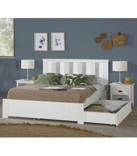 Comprar online Cama en madera de Pino con Cajones MAUDE Blanco/Gris