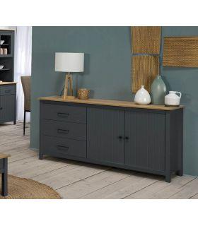 Comprar online Mueble Aparador en madera de pino MIRANDA Azul