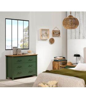 Comprar online Cómoda en madera de pino Colección MIRANDA Verde
