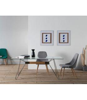 Mesa de Comedor en Metal y Cristal Templado : Modelo NICOLE