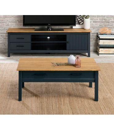 Mesa de centro en madera de pino MIRANDA Azul