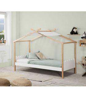 Comprar online Cama Infantil Juvenil en madera de pino modelo NUVEN blanca