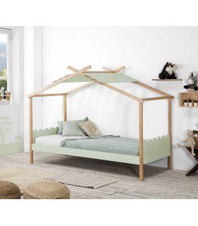 Comprar online Cama Infantil Juvenil en madera de pino modelo NUVEN Verde