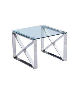 Comprar online Mesa auxiliar de acero y cristal colección VALENCIA