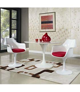 Comprar online Mesa Redonda de Aluminio y Madera : Modelo TUL Blanca