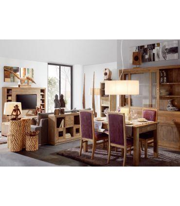 Mesa de Comedor de Madera de estilo Colonial : Colección MERAPI Extensible
