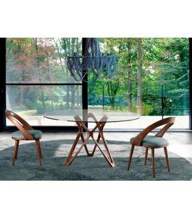 Comprar online Mesa de Comedor Redonda de cristal y madera CAMELIA