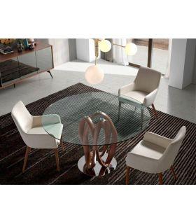 Comprar online Mesa de Salón Redonda en cristal y madera SENEGAL