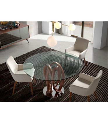 Mesa de Salón Redonda en cristal y madera SENEGAL