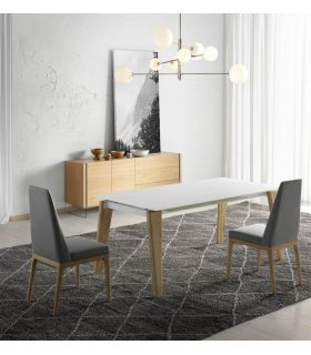 Comprar online Mesa de Cristal y Madera Extensible Modelo MARLENE