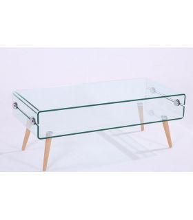 Comprar online Mesa de centro de cristal templado y madera : Modelo HOLANDA