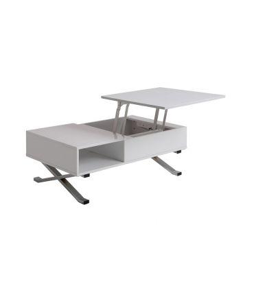 Mesa de Centro Elevable : Modelo MANILA Blanco/Cromo