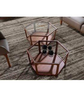 Comprar online Mesa de centro en madera de nogal modelo HEXAGON