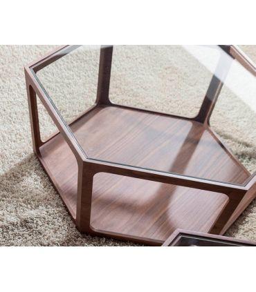Mesa de centro en madera de nogal modelo HEXAGON