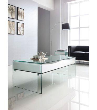 Mesa de Centro de Cristal templado : Colección BACH Blanco