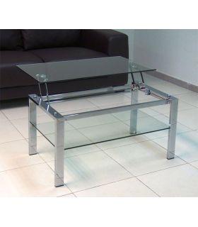 Comprar online Mesita elevable de acero y cristal Templado : Modelo ALBAR
